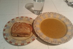 Vegetarian Pumpkin Miso Soup with Gluten-Free Grilled Cheese